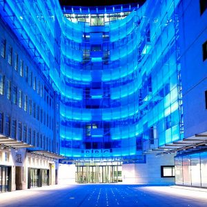 BBC Broadcasting House exterior at night