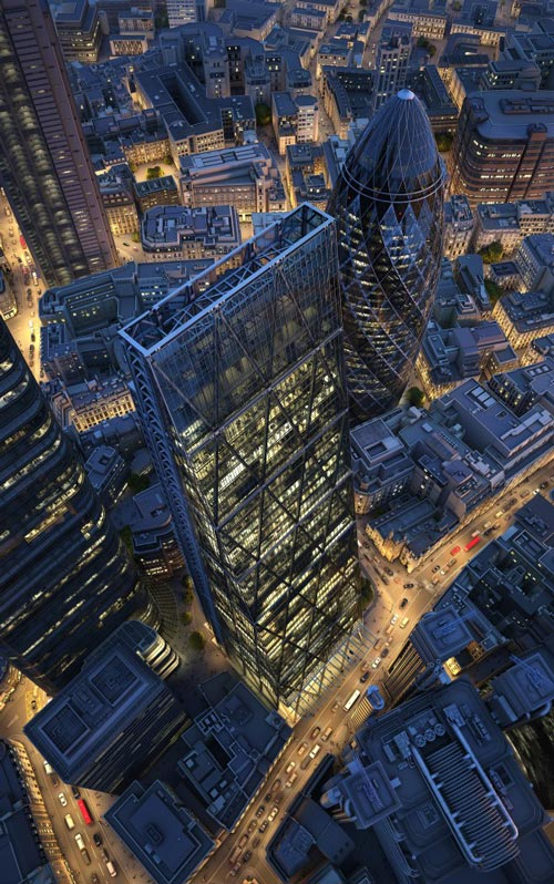 Leadenhall building at night