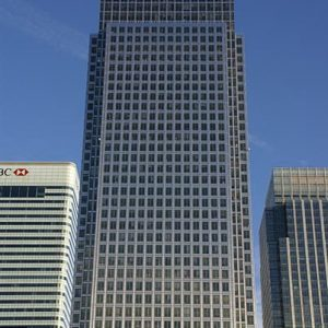 1 Canada Square, Canary Wharf zoomed in