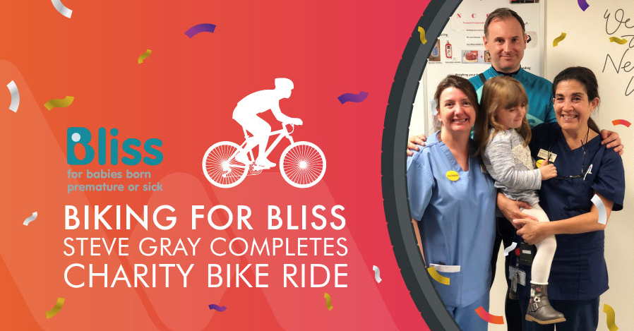 biking for bliss steve gray photographed with his daughter and nurses