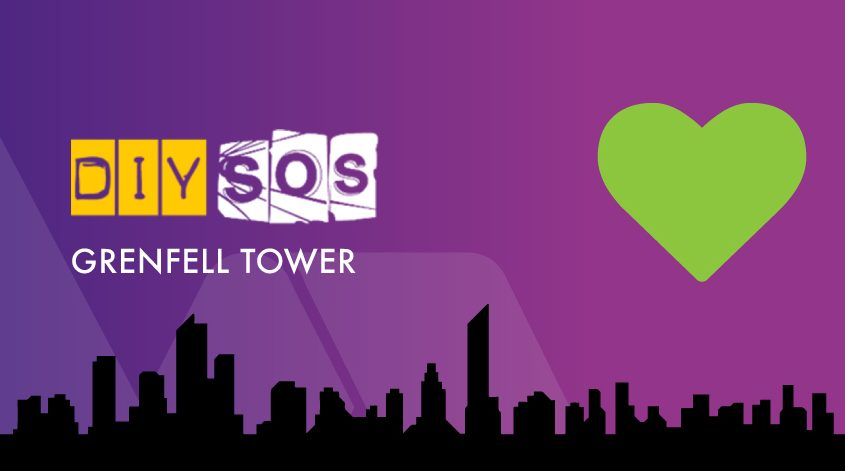 DIY SOS logo set against purple background and a silhouetted London skyline