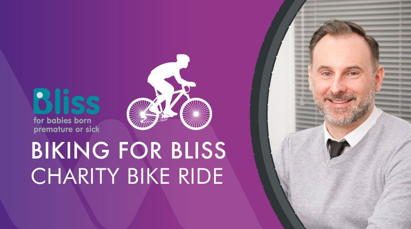 Bliss charity logo with a silhouette of a bike, and a photograph of Steve Gray