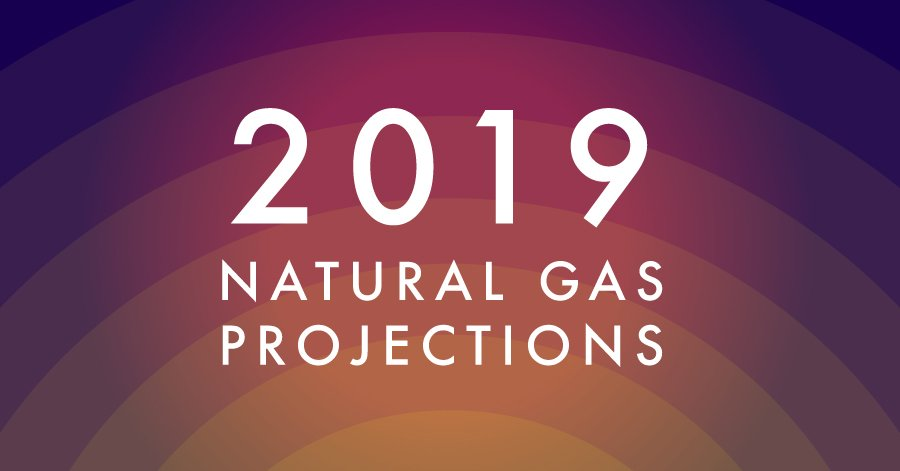 graduating waves of colour from yellow centre to purple with 2019 natural gas projections title