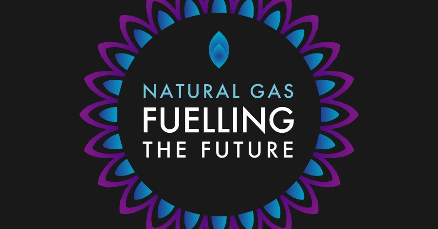 circle of natural gas flames with natural gas title in the middle
