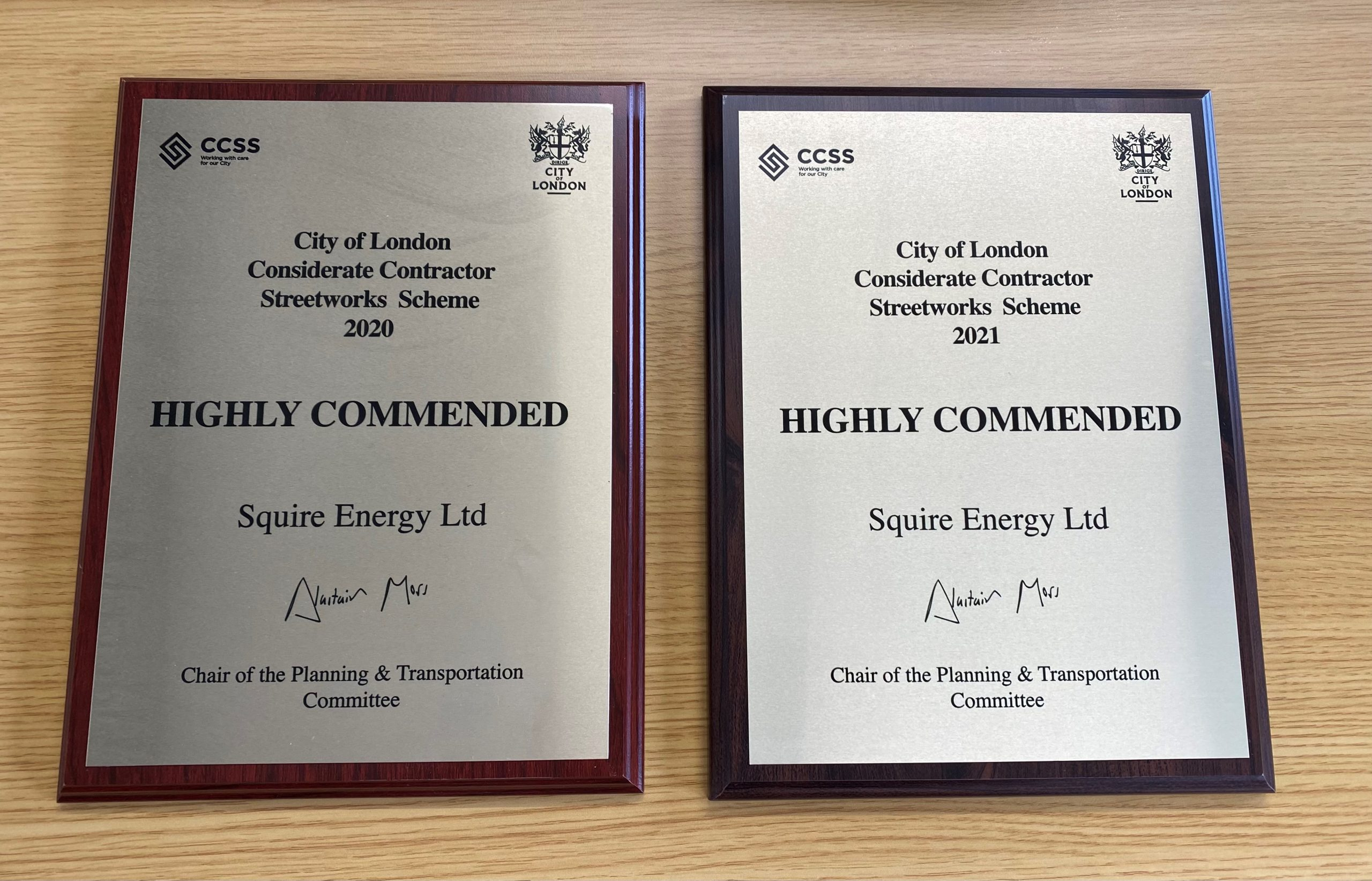 Certificates showing Squire Energy's Highly Commended Gold in the City of the London Considerate Contractor Awards