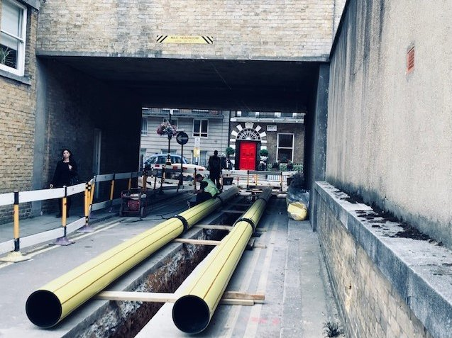 Gas pipes providing new gas supply to Regents Crescent